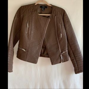 Forever 21 warm brown leather jacket.